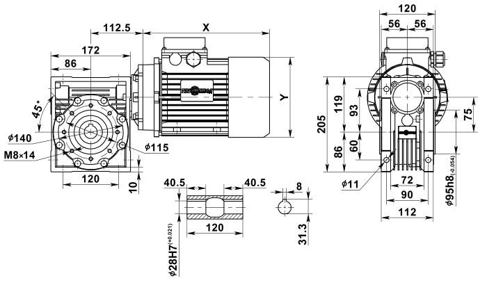 Чертеж мотор-редуктора NMRV 075