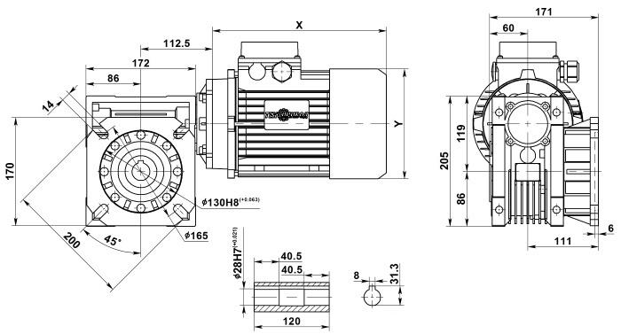 Мотор-редуктор NMRV 075 с выходным фланцем
