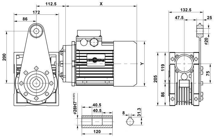 Мотор-редуктор NMRV 075 с реактивной штангой
