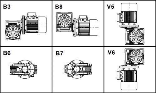 Схемы монтажа мотор редуктора NMRV 075
