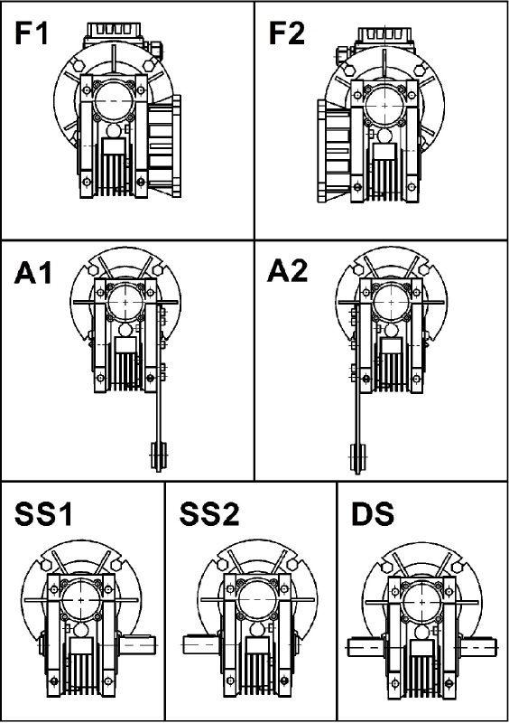 Варианты сборки мотор-редуктора NMRV