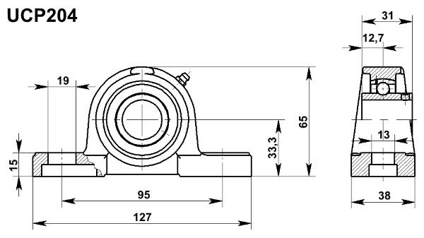 Poważnie Supporto UCP 204 Ø Diametro 20mm Autoallineante con Cuscinetto UCP204 MC37