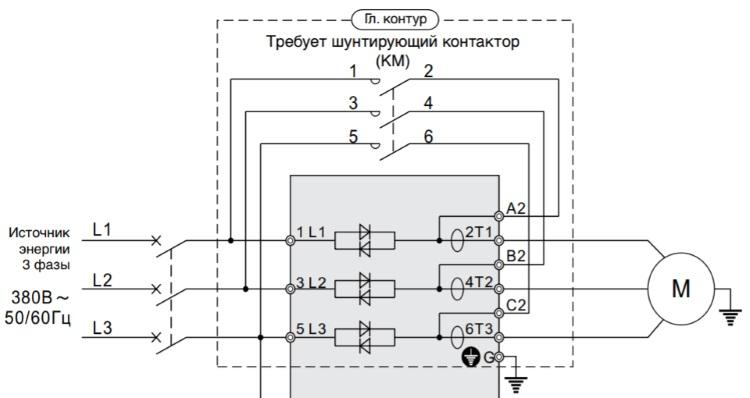 Внешний контактор байпаса на 3 фазы